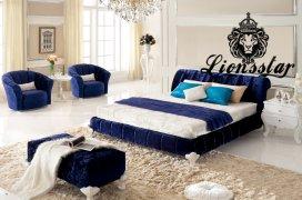 Luxus Bett Samtstoff Blau