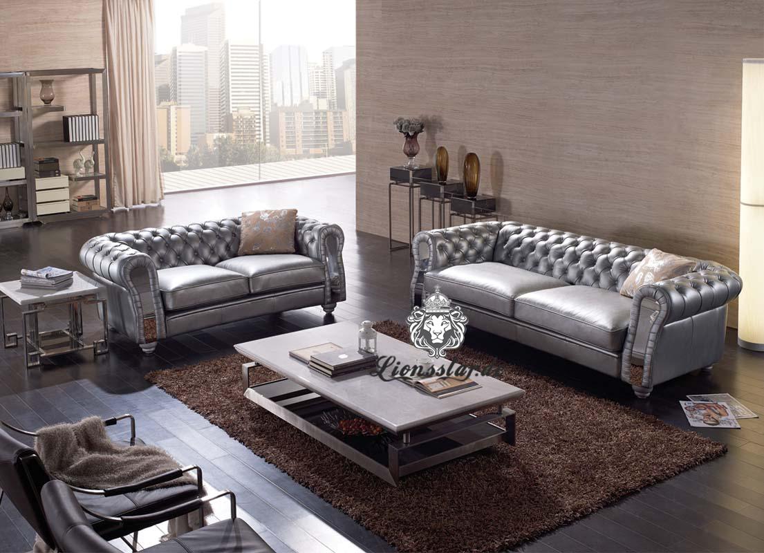 Leder Sofa Grau