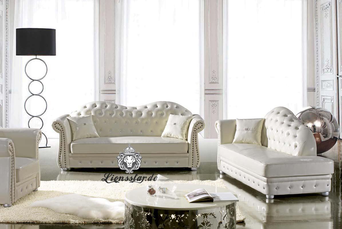 Couchgarnitur Leder Weiß