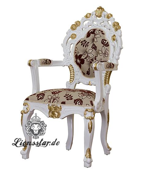 Stuhl Blumenmuster Weiß Lehne