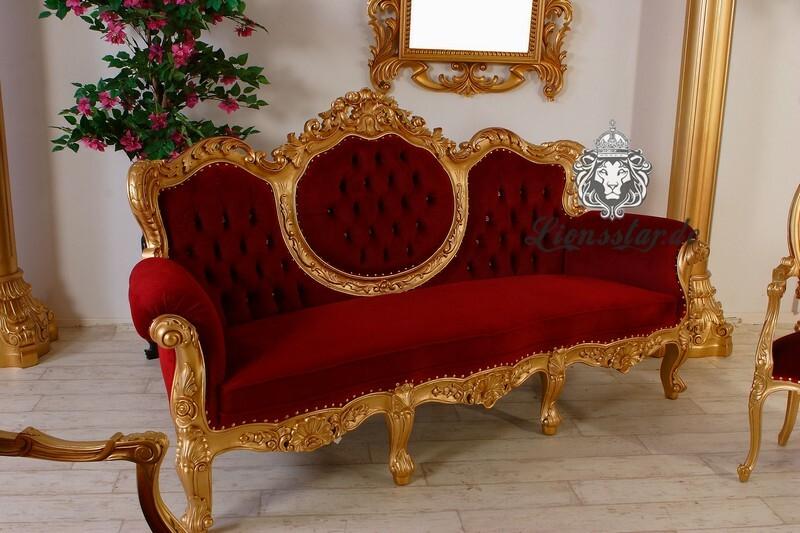 3er-Sofa Barock Weiss-Gold