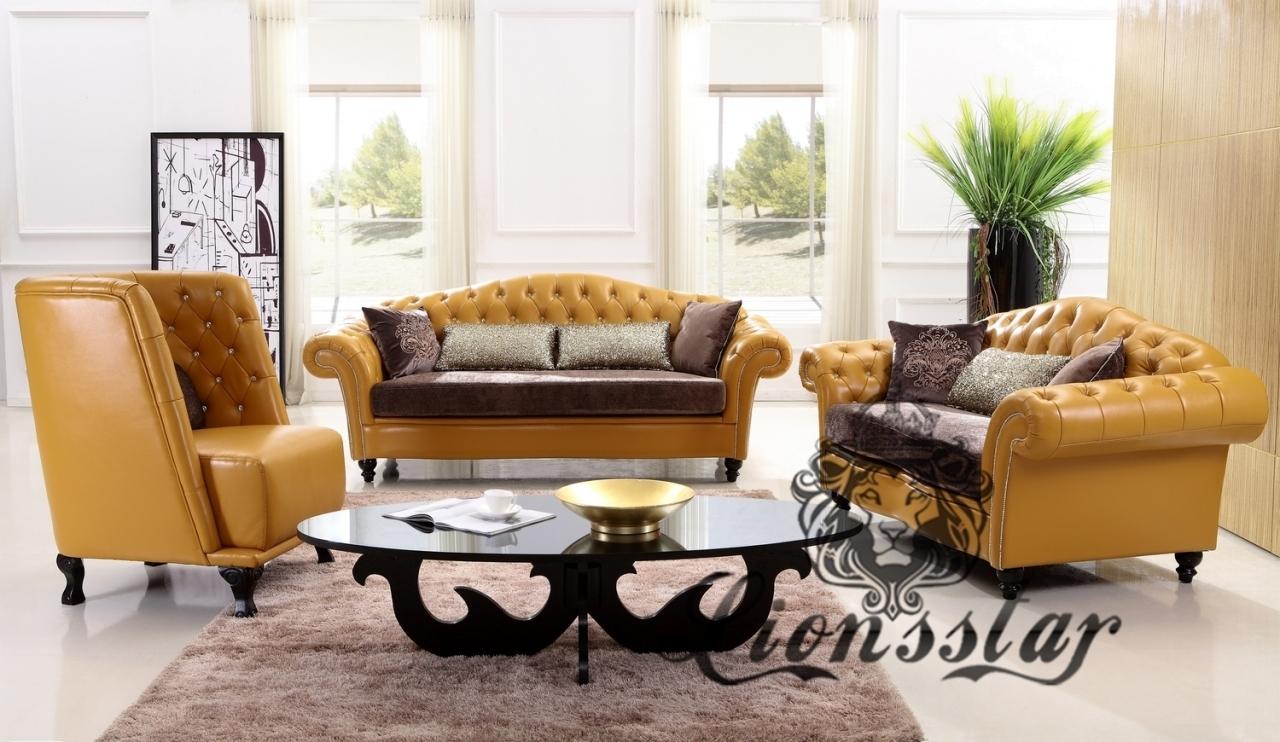 Sofa Set Kunstleder Gelb