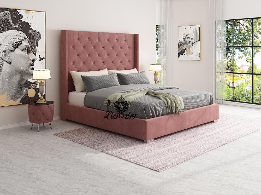 Luxus Designer Bett Chesterfield High Wall