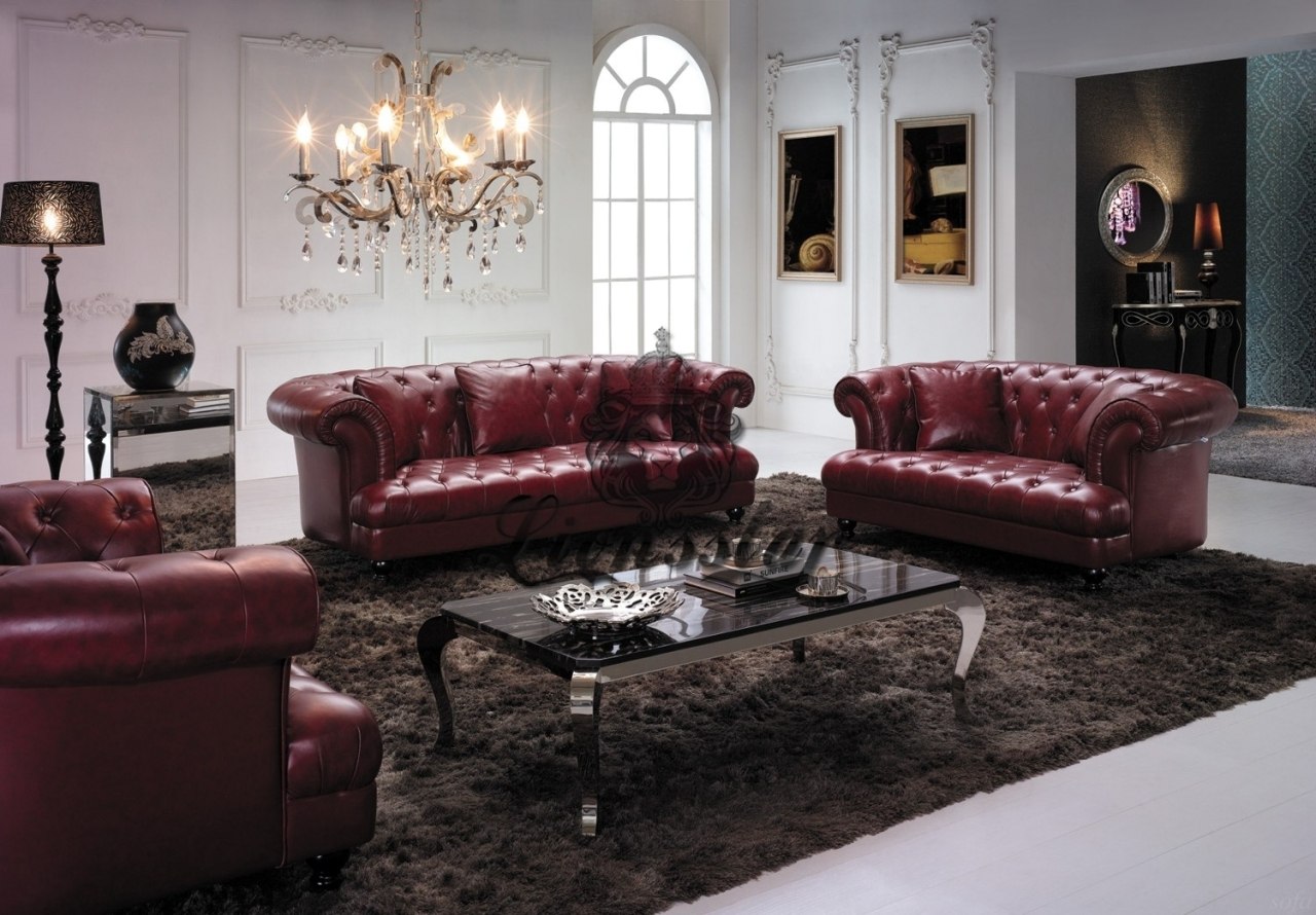 Designer Sofa Barockstil Weinrot
