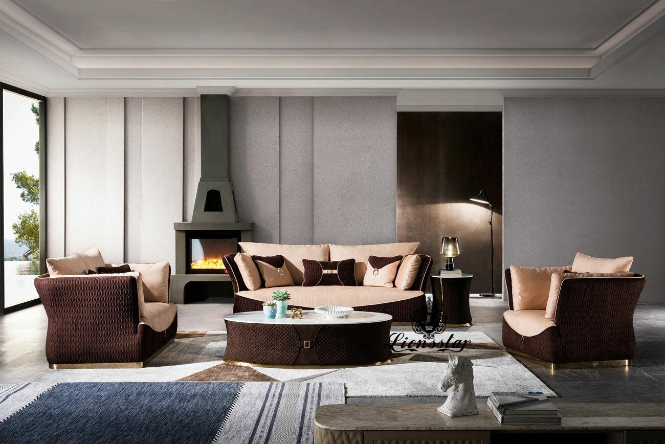 Luxus Design Sofa Set Cafe Creme