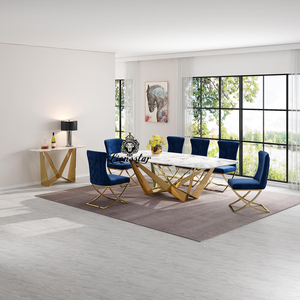 Luxus Designer Esstisch Set Abstract Gold