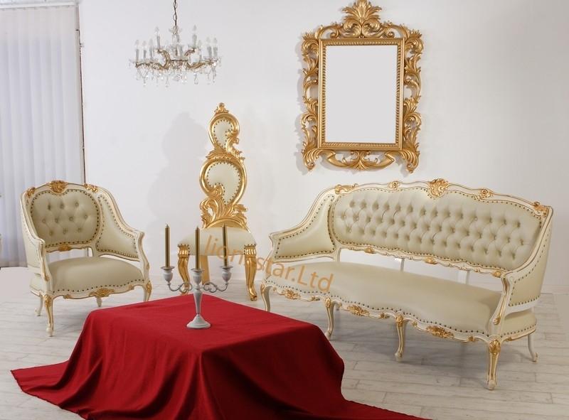 Luxus Stuhl Barock Mahagoni Weiß Shabby Groß Schwan