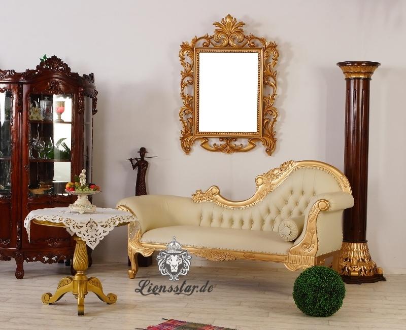 Luxus Sofa Recamiere Rococo Gold Creme