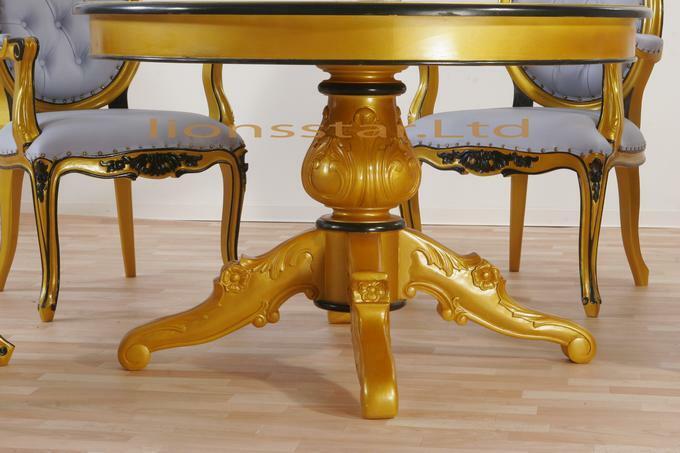 Handgefertigter Esstisch Louis Rund Gold