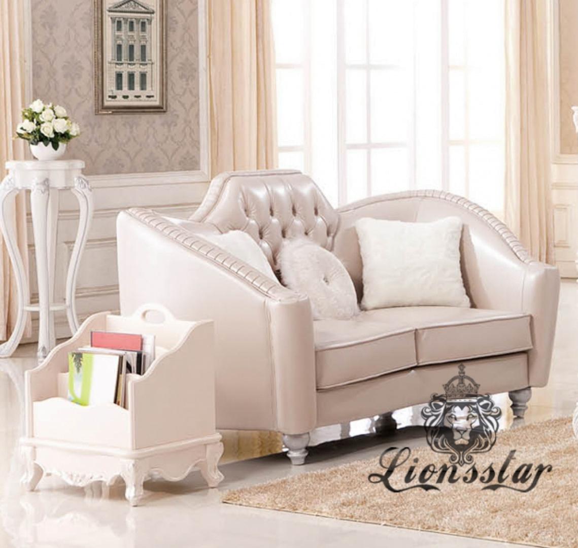 Sofaset Weiß Leder