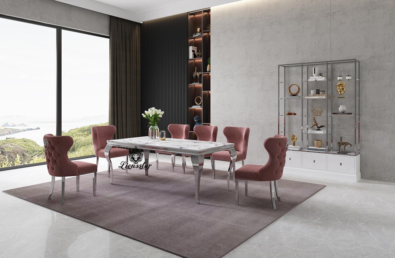 Luxus Designer Esstisch Set Leonis Aurum II