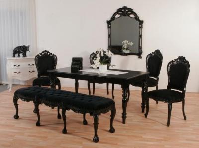 Luxus Stuhl Barock Mahagoni Schwarz