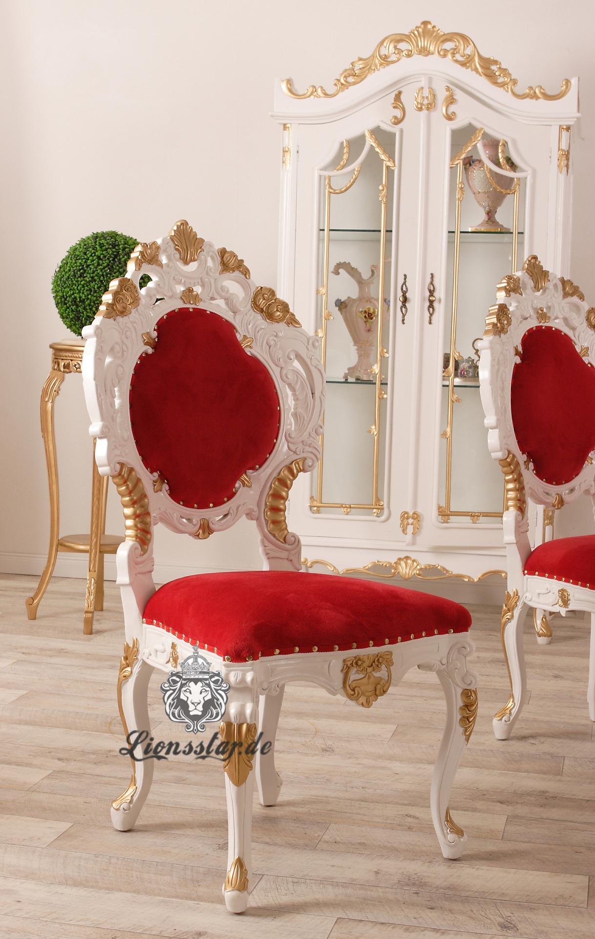 Stuhl im Barockstil Rot ohne Lehne