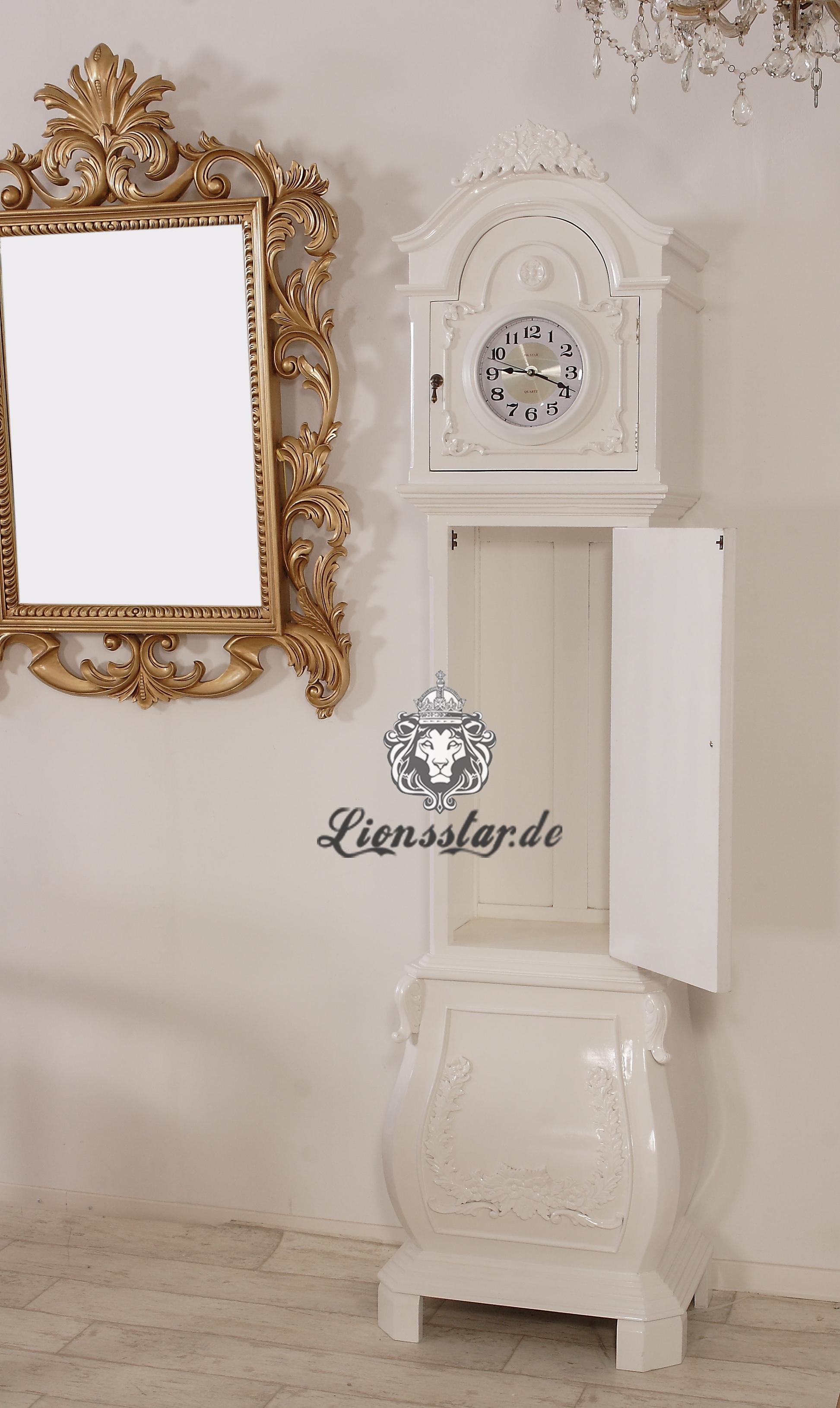 Standuhr Shabby Landhaus Vintage Holz Weiß