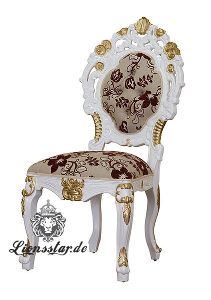 Luxus Stuhl Barock Mahagoni Blume