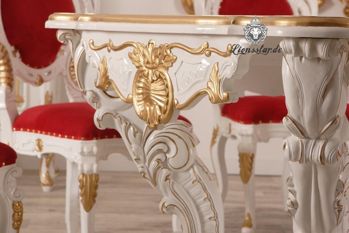 Esstisch Barock Massivholz Weiß Gold Louis