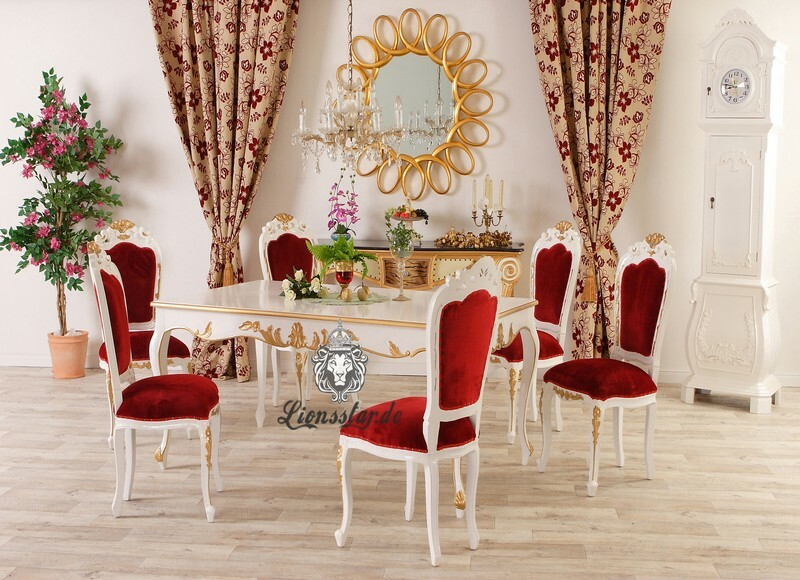 Esszimmertisch Barock Venezia Weiß Gold