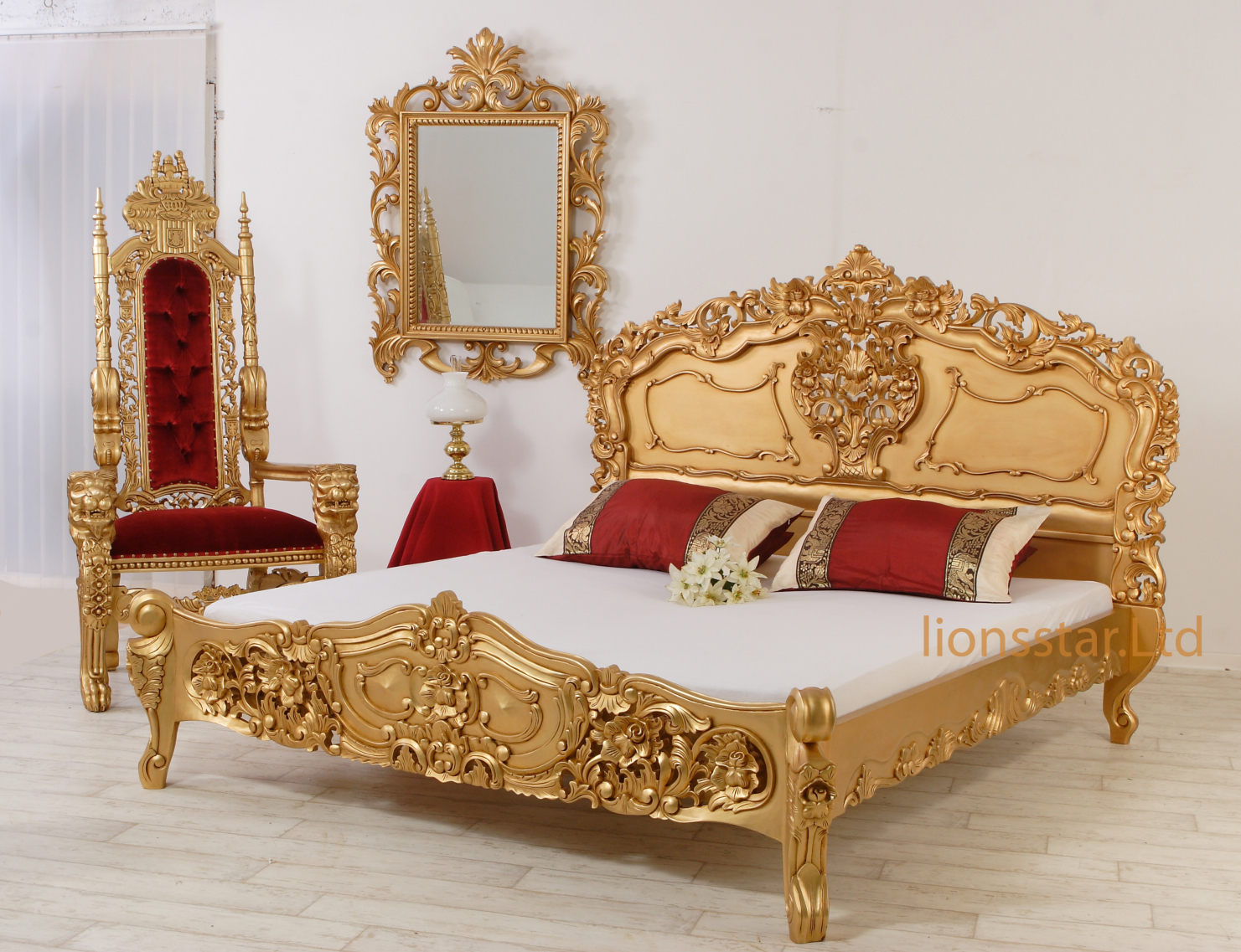 Rokoko Bett Kolonialstil Gold