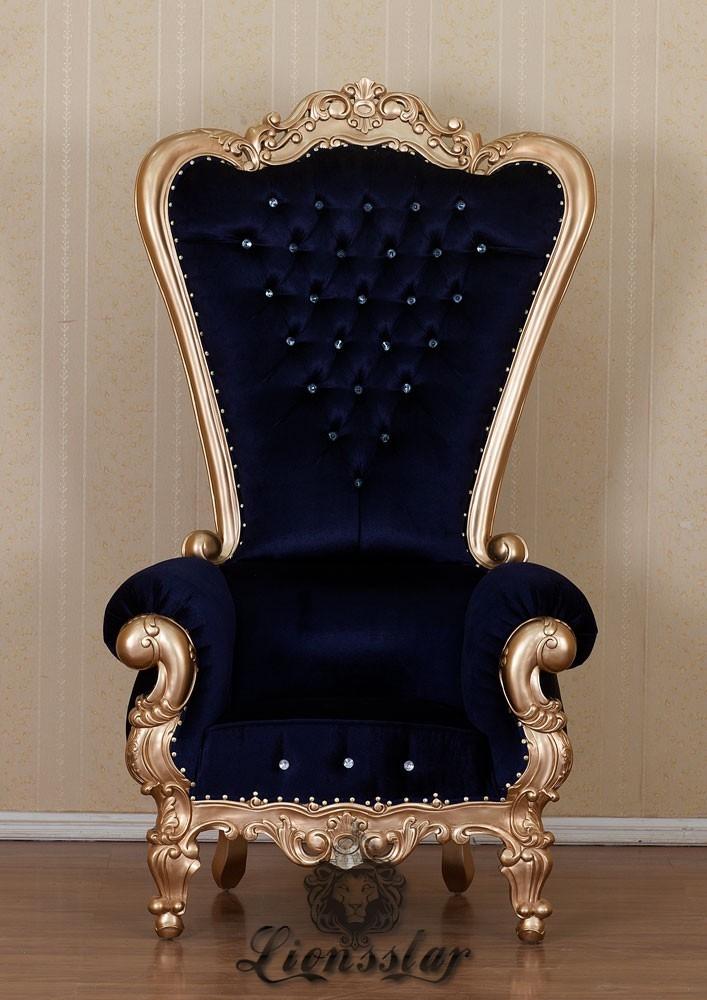 Großer Sessel im Barockstil Schwarz Gold