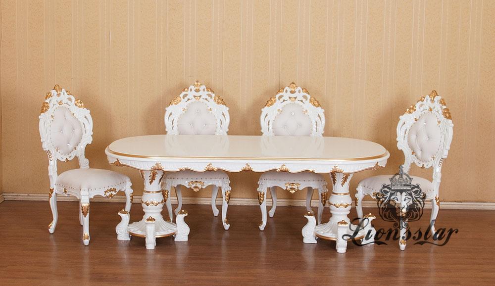 Designer Esstisch Weiß Gold