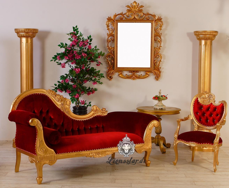 Recamiere Gold-Rot Rococostil