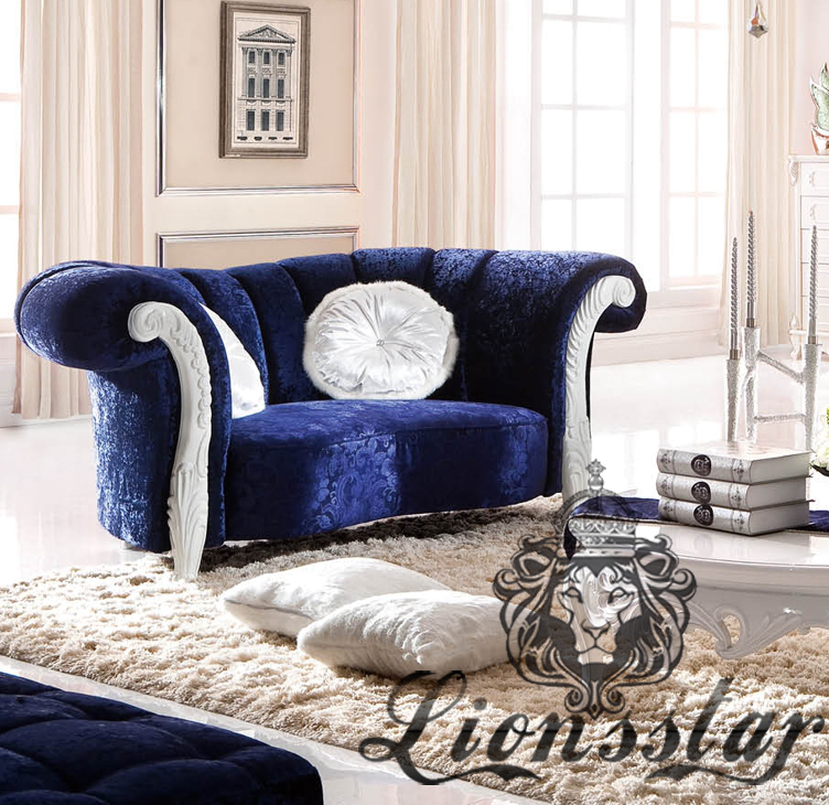 Blaues Luxussofa Sofa Set Massivholz