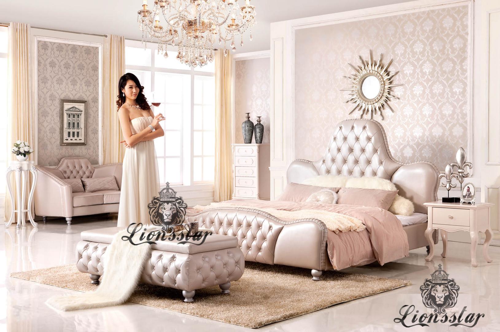 Bett im Barockstil Massivholz Mahagoni Rot