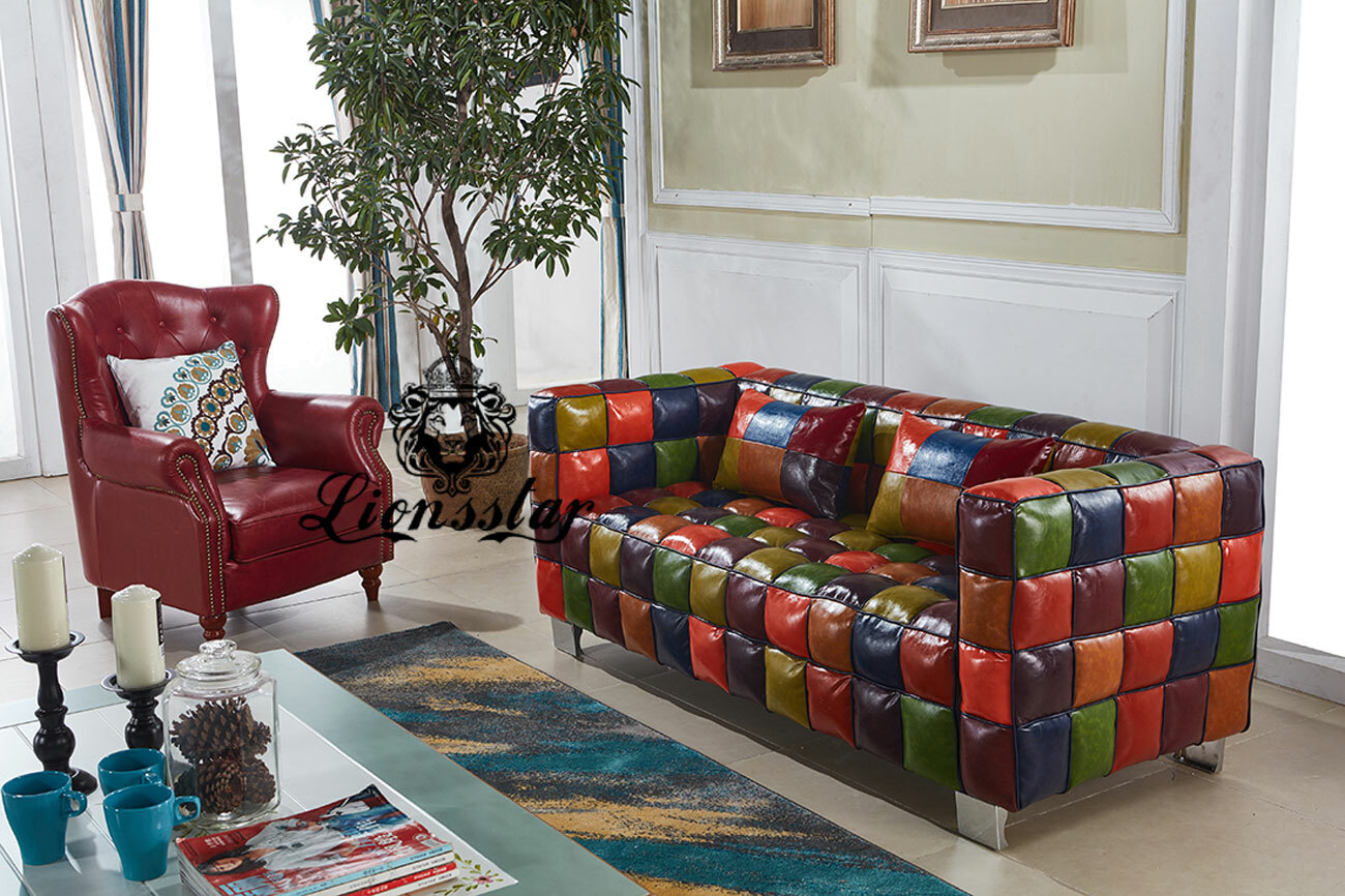 Designer Sofa Set Patchwork Grün