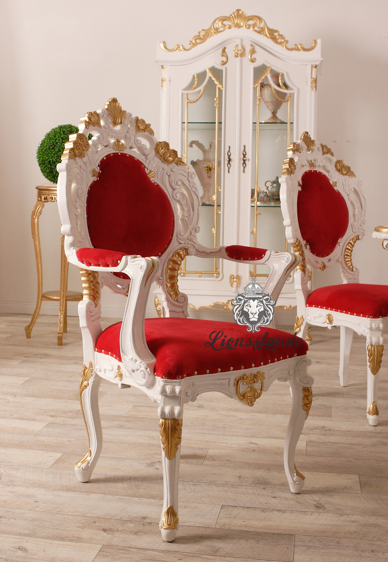Stuhl im Barockstil Rot mit Armlehne