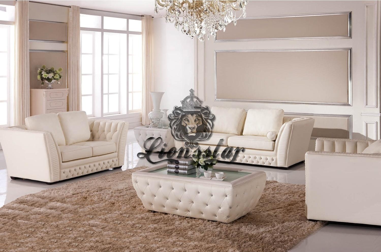 Sofa Set mit Tisch Weiß Kunstleder