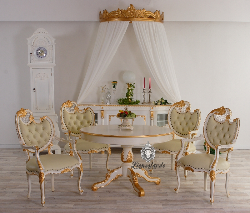 Luxus Esstisch Barock Louis Rund Weiß Gold