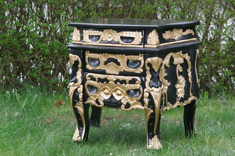Nachttisch fürs Rococobett Schwarz-Gold