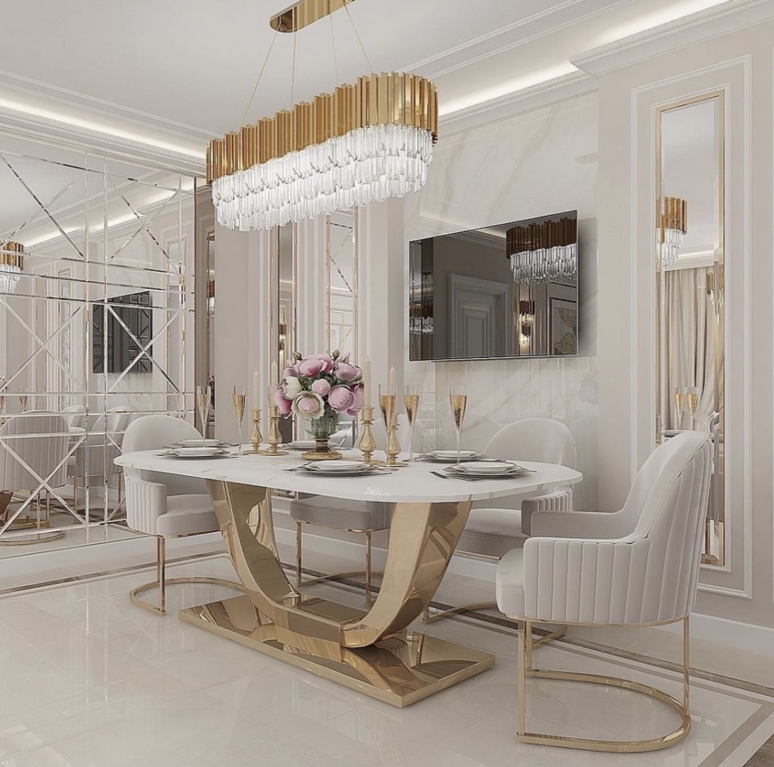 Luxus Designer Esstischset Marylin
