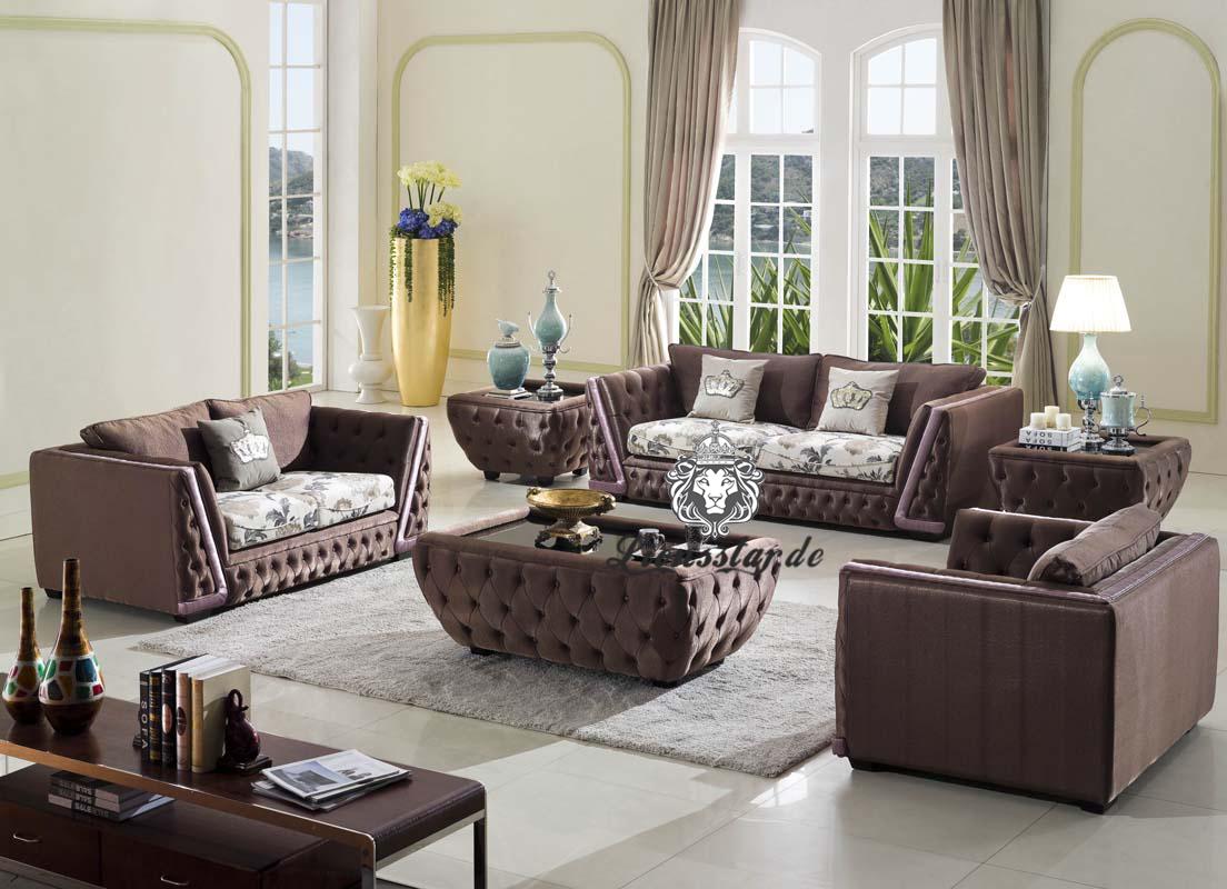 Couchgarnitur Leder Braun mit Tisch