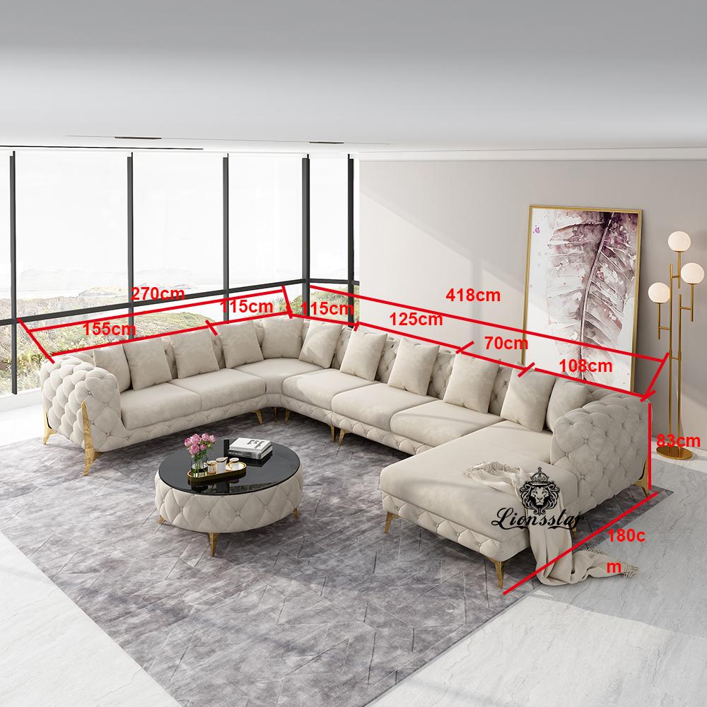 Designer Luxus Wohnlandschaft Clouds High Leg U Form XXL