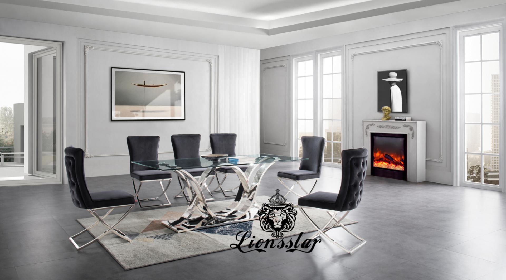 Luxus Esszimmer Stuhl Light Loft Chromsilber
