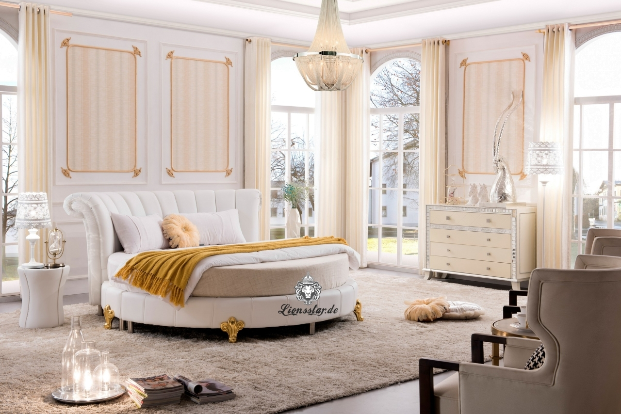 Rundes Designer Bett Weiß