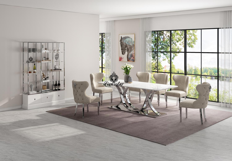 Luxus Designer Esstisch Set Leonis Aurum