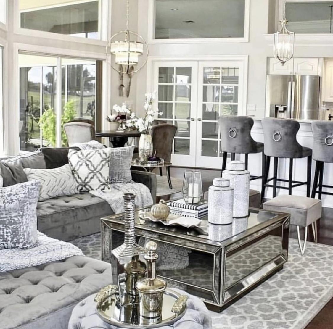 Luxus Designer Couchtisch Silver Industry