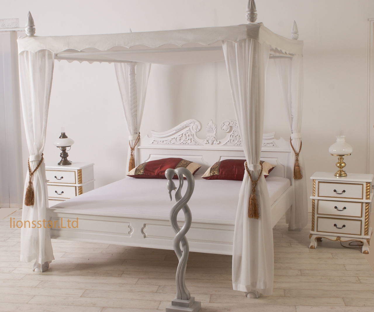 barock himmelbett wei mahagoni lionsstar gmbh. Black Bedroom Furniture Sets. Home Design Ideas