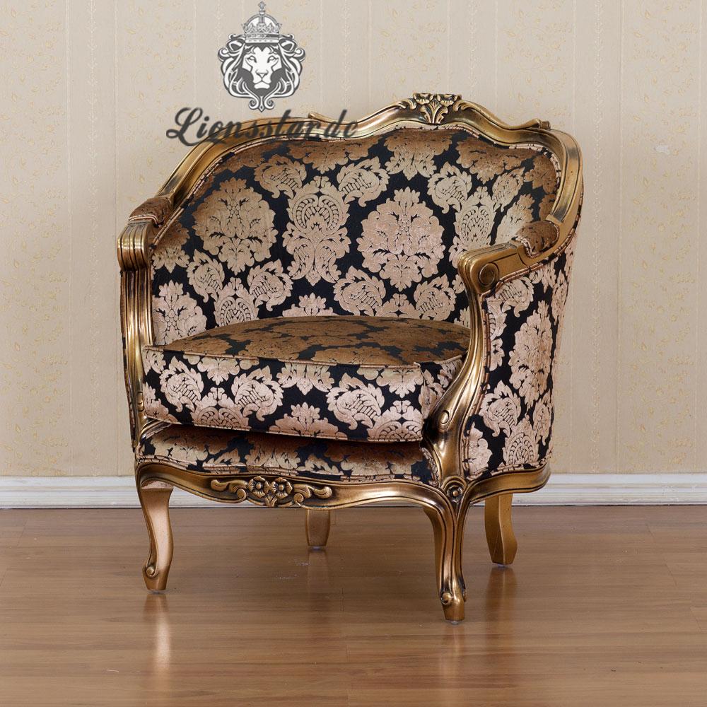 Luxus Sessel Barock Mahagoni Gold Blume