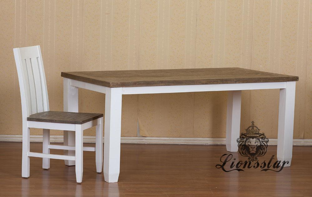 Naturholz Esstisch Braun Weiß