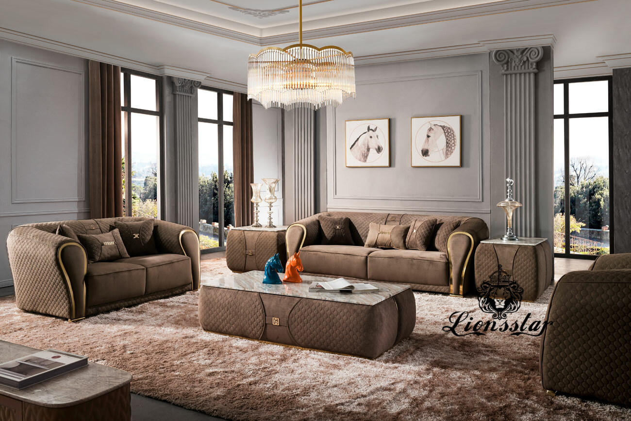 Edel Luxus Sofa Set Polo Sports braun