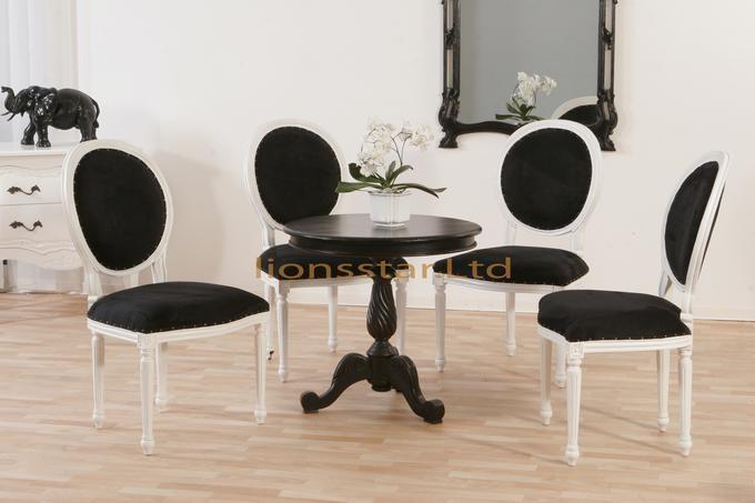 Luxus Stuhl Barock Mahagoni Weiß Schwarz
