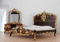 Rokoko Bett im Kolonialstil Braun-Gold