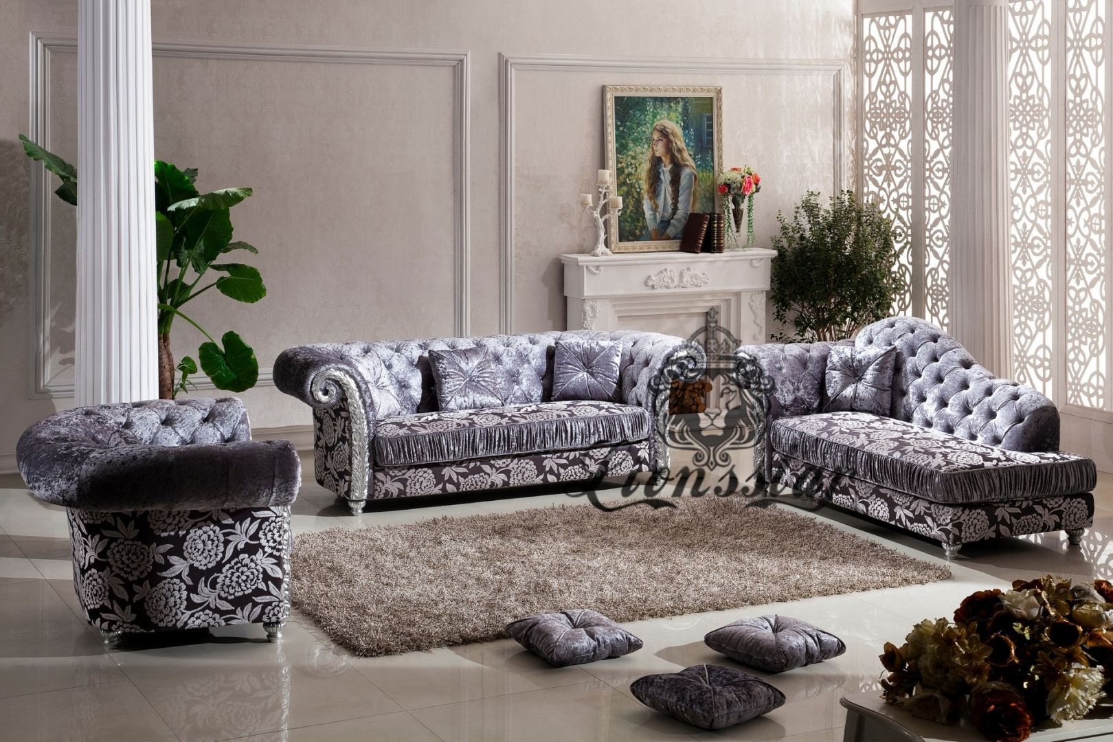 couchgarnitur samtstoff grau lionsstar gmbh. Black Bedroom Furniture Sets. Home Design Ideas