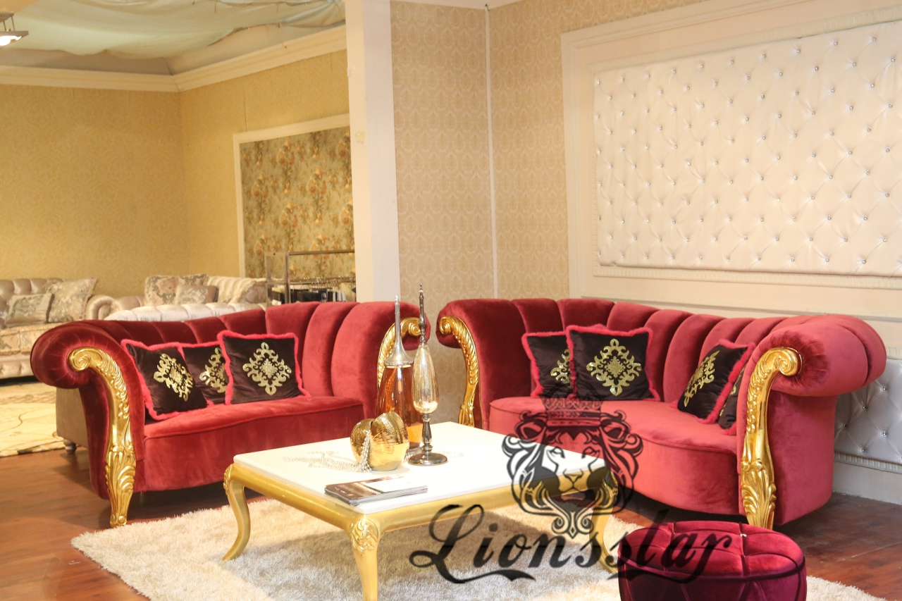 Luxus Stoffsofaset in Rot