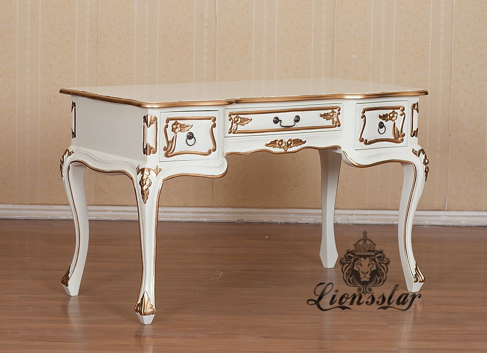 barock schreibtisch wei gold lionsstar gmbh. Black Bedroom Furniture Sets. Home Design Ideas