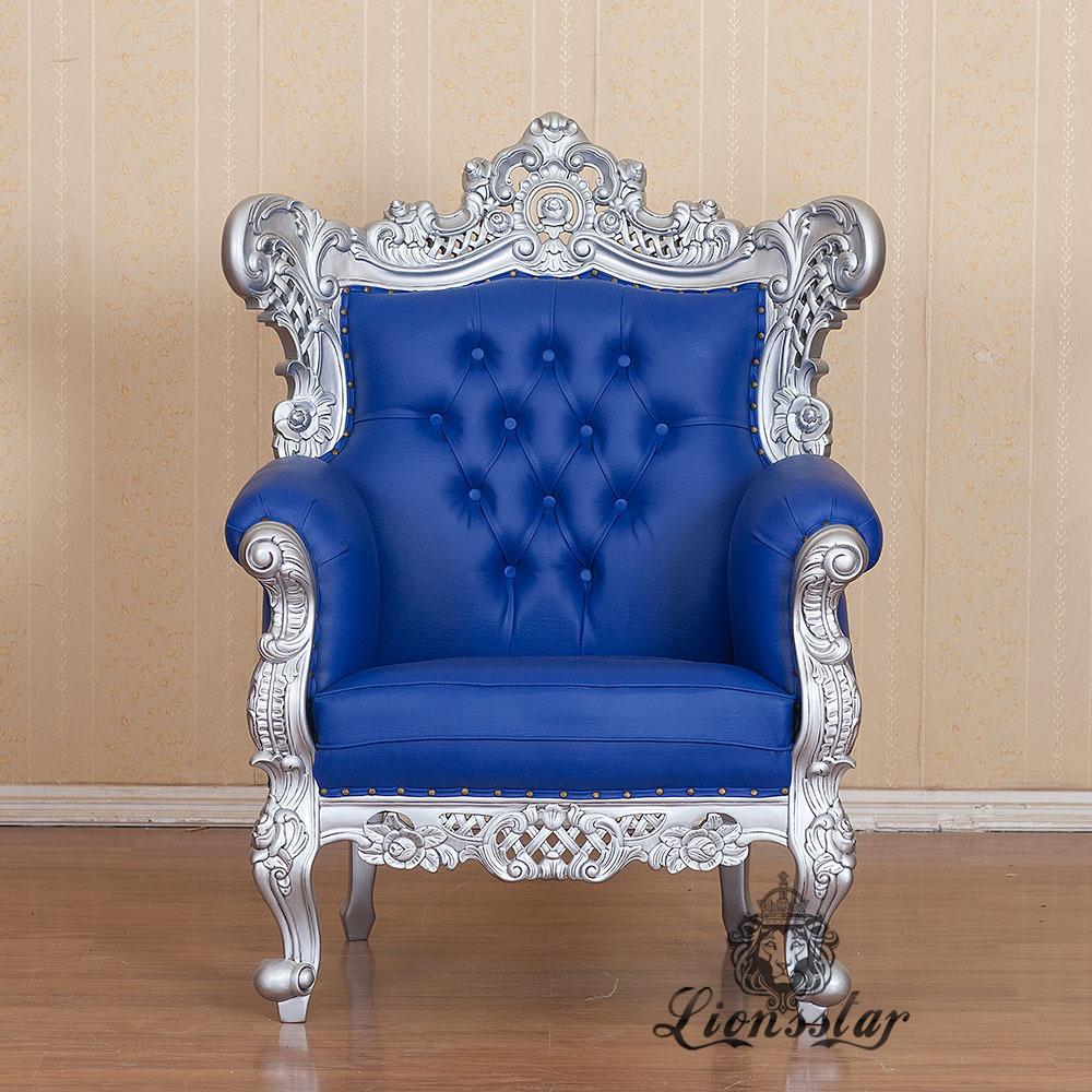 Thronstuhl Barock Silberblau