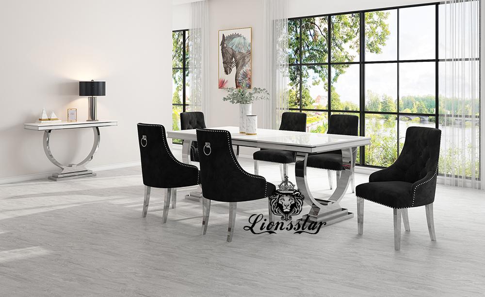 Luxus Esstisch Set Loft Design Silver